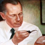 A Painting of Dr. Royal Lee Examining Something Under a Magnifying Glass